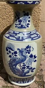 19th Century Antique Chinese Vase Blue And White Tall 19''