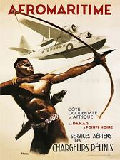 TRAVEL SEA PLANE AFRICA AEROMARITIME FRANCE 1950 POSTER ART PRINT BB2836A
