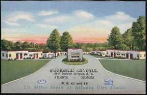 ATLANTA GA Georgian Autotel Motel Vintage Linen Georgia Postcard Old PC