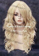 Heat Friendly Long Wavy Curly side Skin Part Pale Blonde Wig Flat iron OK wd 613