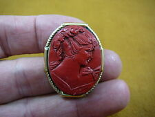 (cred-55) Woman with hair up with curls RED oval lady CAMEO brass Pin Pendant