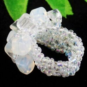 Opal Opalite Chips Titanium Crystal Pendant Bead Stretchy Ring