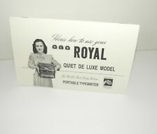 Royal Portable Quiet De Luxe Typewriter Reproduction Instruction Manual