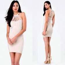 NWT bebe ivory nude multi straps cutout cage back bandage top dress XS 0 2 club