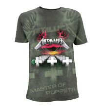 Official Metallica T Shirt Master Of Puppets All Over Charcoal Rock Metal Mens