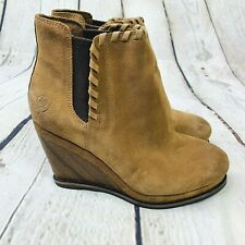 Ariat Belle Soho Wedge Boot Bootie 6.5 Womens Boho Tan Suede Whip Stitch Shoes