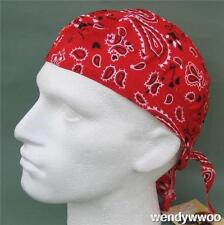 Fitted Bandana Red Paisley sun hat do du doo rag bandanna head wrap boteh new