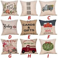 Merry Christmas Pillow Cases Cotton Linen Sofa Cushion Cover Home Decor LOT