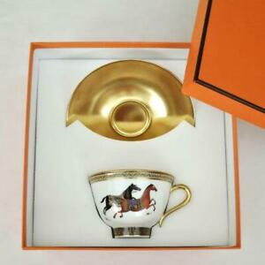 Hermes Tea Cup Saucer Cheval d'Orient Gold Animal Horse Tableware Porcelain New