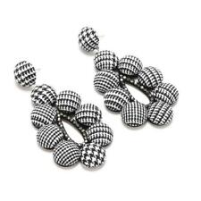 CG2066......LATEST FASHION - FABRIC COVERED EARRINGS - BLACK TWEED - FREE UK P&P