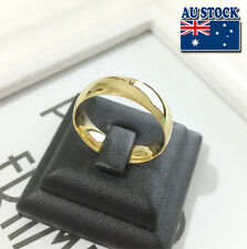 14K Gold Plated 6mm Polished Stainless Steel Wedding Band Ring Mens &Womens