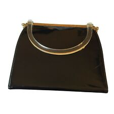 Vintage L&M Patent Black Gold Purse Navy Lucite 3 In 1 Tapestry Pinup Rockabilly