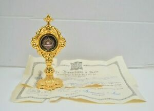 Goldplated Reliquary w/ Relic & Document of St. Margaret Mary Alacoque (CU84)