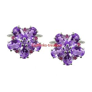 Natural Amethyst & Ruby Gemstone with 925 Sterling Silver Cufflinks For Men's