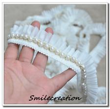 Galon perlé blanc cassé Fait Main 1.5mètrex 3.5 cm REF 2005