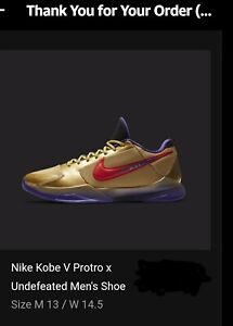 Nike Kobe 5 Protro Undefeated Hall Of Fame Mens Size 13   *Confirmed Order*