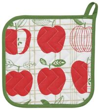 NOW DESIGNS Potholder APPLES APPLE COLLECTION Hot Pad NWT 100% Cotton RED WHITE