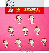 9 Vintage Snoopy Sew-On Buttons Santa Christmas Enamel Metal Shank Peanuts JHB