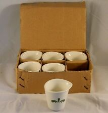 Box of 6 Restaurant Ware Ceramic Syrup Dressing Creamer Serving Cup Green Leaves
