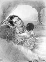 LOVELY COQUETTE Ellen Evelina - 1840s Antique Print Engraving