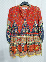 Ladies RITU KUMAR Designer Boho Indian Top Size 3 UK 12 Red Hippy Long Sleeve