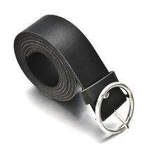 Black Women Lady Simple Metal Boho Leather Round Buckle Waist Belt Waistband