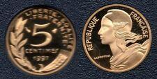 France : Variété Frappe Décallée ! Rare 5 Centimes 1997 Marianne 4 Plis BE