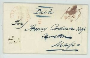 Mr Fancy Cancel Stampless Red Wilmington Del Boston Mass Paid 1841 FLS #549