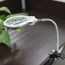 Flexo Foco Lupa Metal Luz LED Clip Mesa Lectura Escritorio Lampara Lente Visor