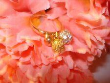Vintage or Mod 3~Rhinestone Dangle Charms Ring Size 8 Pretty!