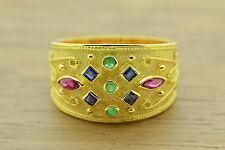 Byzantine Etruscan Ring Sapphire Emerald Ruby 925 Sterling Silver 22K Gold Plate