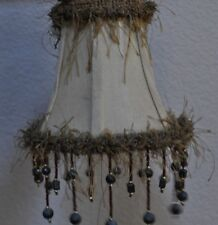 """Lamp Shade with Beads and Fringe, 5 1/2"""" tall, Beige/ Olive"""