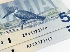 1986 2 Consecutive Canada Five 5 Dollars EPV Prefix Uncirculated Banknote I776