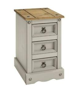 Corona Bedside Cabinet 3 Drawer Grey Wax Table Unit Pine by Mercers Furniture®