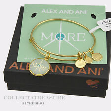"""Authentic Alex and Ani """"More Peace"""" Yellow Gold Charm Bangle"""