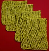 Handmade Knitted Dishclothes Washclothes 100% cotton lime green