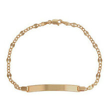"""18ct Gold Filled Curb Chain Link ID Identity Name Bar 8.5"""" Bracelet UK"""