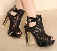 Women's Peep Toe Lace Mesh Slim High Heels Buckle Strap Ankle Boots Zip Sandals