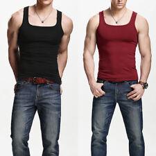 Mens Casual Sleeveless Square Neck Tank Tops Sexy Slim Sport Vest Undershirts