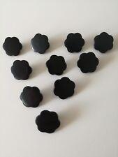 Large Black Flower Shaped Shank Buttons