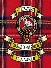 Stewart Royal Tartan Metal Sign, Scottish Clan Plaid and Motto