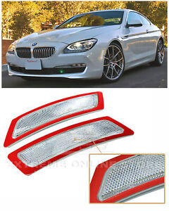 For 12-Up BMW F12 F13 6-Series | CLEAR Front Bumper Reflector Side Marker Lights