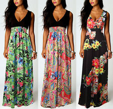 Women Boho V Neck Maxi Summer Beach Long Skirt Cocktail Party Retro Floral Dress