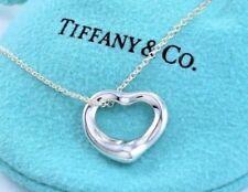 """Tiffany & Co Elsa Peretti Plata Pequeña Collar Corazón Abierto 16"""" con /"""