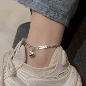 Retro Delicate Handmade Silver Love Heart Anklet Bracelet for Women Jewelry AU
