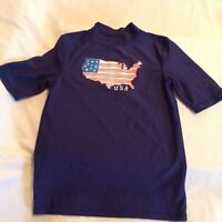 Cherokee swimwear top rash guard shirt patriotic stars stripes USA blue boys