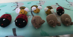 3 hand knitted Small Mice  3 Bees  And 3 Ladybirds