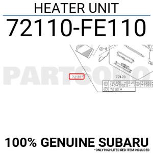 72110FE110 Genuine Subaru HEATER UNIT 72110-FE110