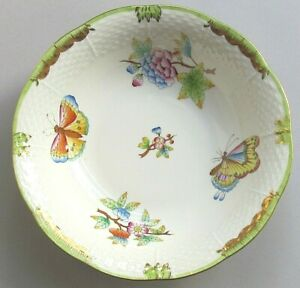 """HEREND QUEEN VICTORIA GREEN BORDER 6½"""" CEREAL / OATMEAL BOWL 330 (Ref6517)"""
