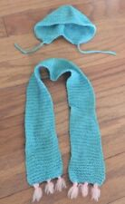 Antique Doll Hat Scarf Handmade Crochet Turquoise Pink Beautiful
